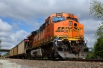BNSF 5885, GE ES44AC, works as a DPU remote unit on a westbound empty